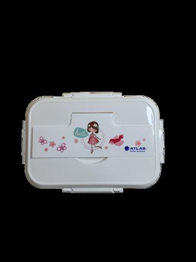صورة حافظة طعام وردي مقسمة + ملعقة و شوكة